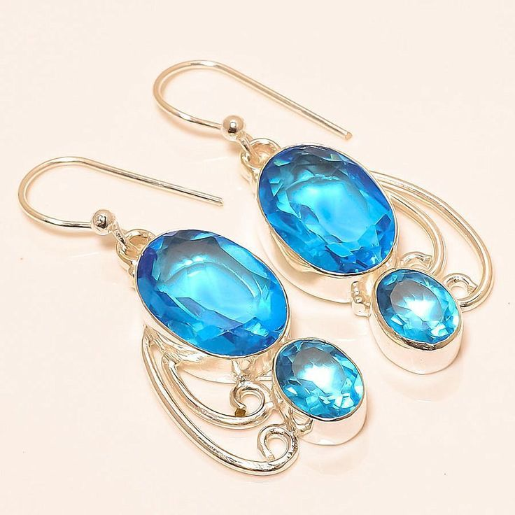 Blue Topaz 925 Sterling Silver Jewelry Earring 1.54