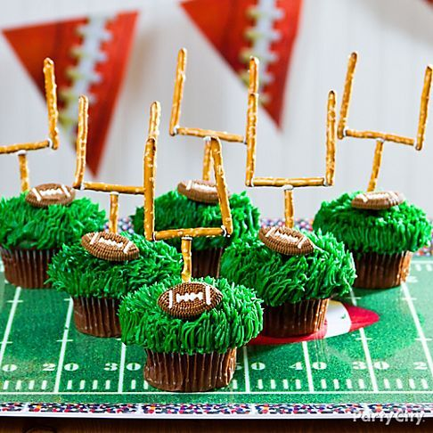 Prev2 of 9Next Party City scored big with these football cupcakes.  What a great idea to make goal posts out of pretzel sticks. Prev2 of 9Next