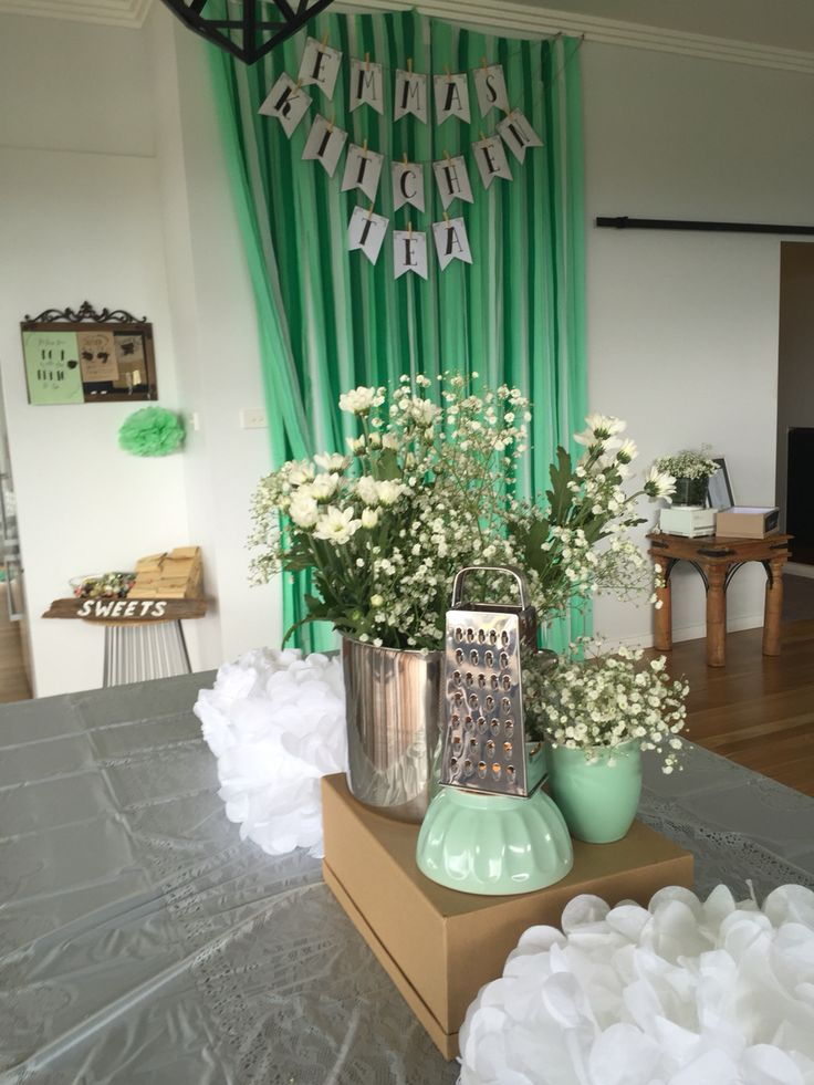 Main table decoration, recipe table, backdrop and kids lolly table.