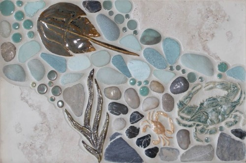Eclectic mosaic mural made with ceramics, stone, and glass. Various crabs, eel grass, and more made as ceramic tiles. Perfect for any room! #wetdogtile