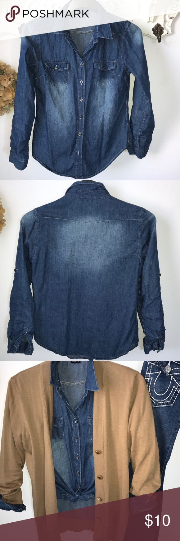 Noble U denim shirt Classic distressed Noble U 👕  with tabs to roll up sleeves. Pair with camel cardigan and your fav jeans. Noble U Tops Button Down Shirts
