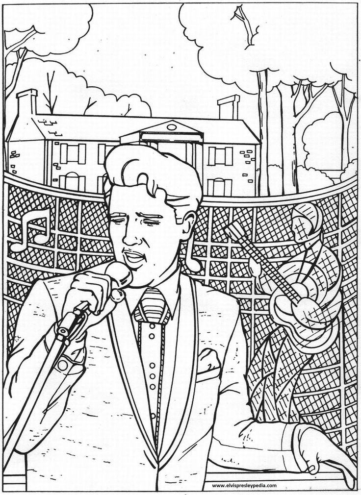 """( 2015...2016 IN MEMORY OF † ♪♫♪♪ ELVIS PRESLEY """"Coloring Pages Free."""" )  † ♪♫♪♪ Elvis Aaron Presley - Tuesday, January 08, 1935 - 5' 11¾"""" - Tupelo, Mississippi, USA. Died; Tuesday, August 16, 1977 (aged of 42) Resting place Graceland, Memphis, Tennessee, USA. Education. L.C. Humes High School Occupation Singer, actor Home town Memphis, Tennessee, USA. Cause of death: (cardiac arrhythmia)."""