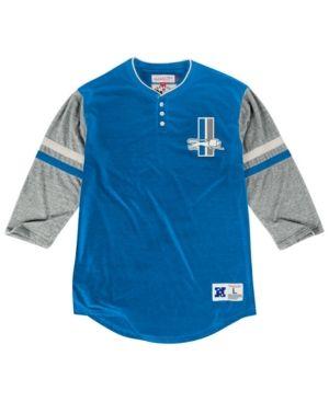 Mitchell & Ness Men's Detroit Lions Home Stretch Henley 2.0 Longsleeve T-Shirt - Blue XXL