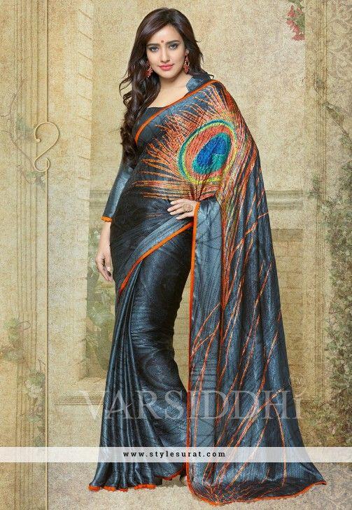 Extraordinary Neha Sharma Endorsed Georgette Printed Black Saree