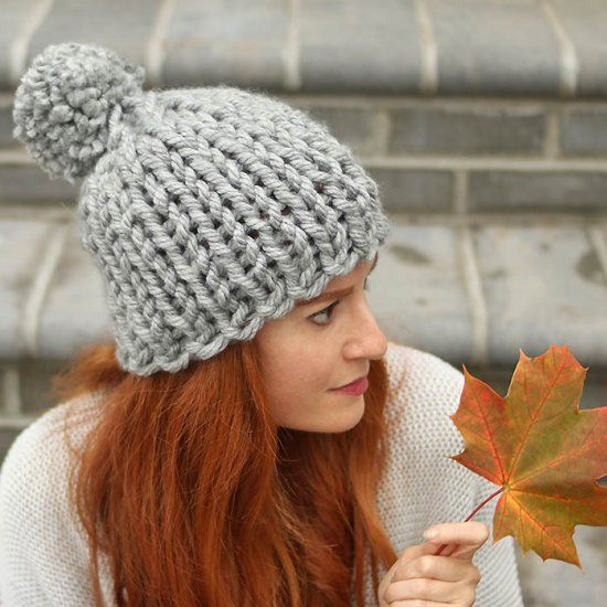 06d594bd275 Free knitting pattern for this Jumbo Chunky Hat. It s knit flat so it s  perfect for beginners!