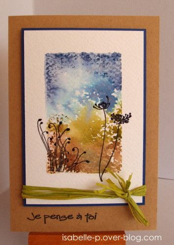 "handmade card ... watercolor look with acrylic block, Distress Inks and a spritz of water ... luv how it looks like an impressionist water color painting ... nice touch to have thin bright blue mat echoing the ""sky"" color ... lovely tied with green raffia ...."