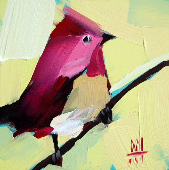 Purple Finch no. 5 original bird oil painting by Moulton 5 x 5 inches on panel  prattcreekart