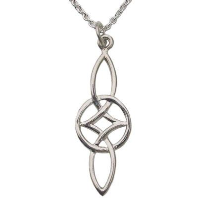 The Everlasting Love symbol, Serch Bythol, is offered as a pendant in sterling silver.  This sterling silver pendant is double sided, just under 1-5/8