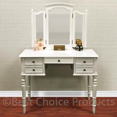 White vanity table jewelry makeup desk 5 drawer indoor for White makeup table