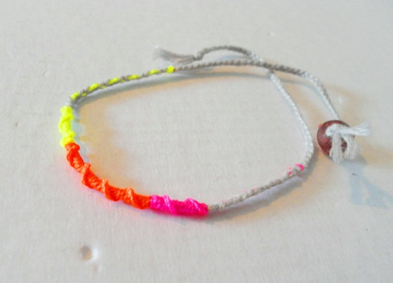 Neon Knotted Braided Friendship Bracelets - hot pink neon orange ...