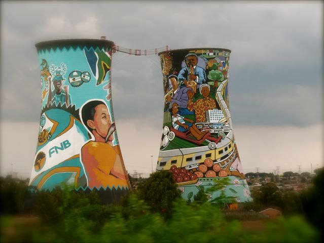 Colourful murals showing the extent of love and respect for Nelson Mandela in Soweto, Johannesburg, South Africa
