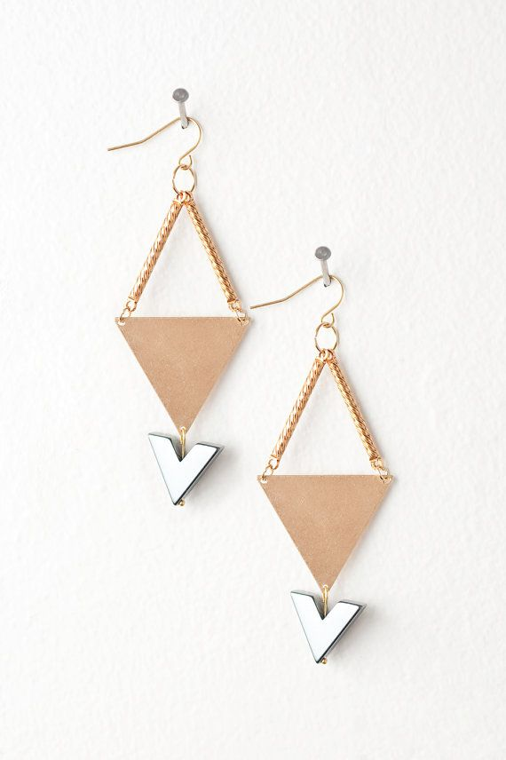 Geometric Style Earrings Featuring Gold Triangle by DeuceFashion, $27.00