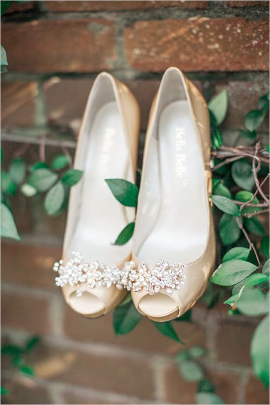 Romantic and feminine, the Elise peep toes by Bella Belle are stunning in champagne gold.