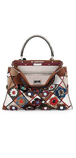 Fendi Peekaboo Medium Patchwork Flowers Satchel Bag