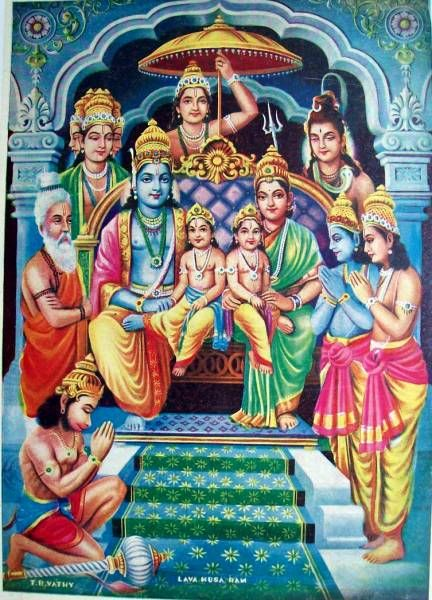 Rama-Sita with their sons Lava and Kusha.