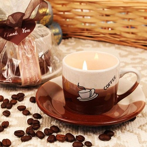 """Coffee Lover's Delight"" Coffee Scented Candle in Mug Shaped Holder with Plate"