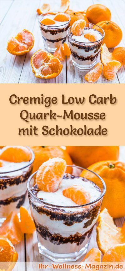 Cremige Low Carb Quark-Mousse mit Schokolade - ein einfaches Rezept für ein kalorienreduziertes, kohlenhydratarmes Low Carb Dessert ohne Zusatz von Zucker ...