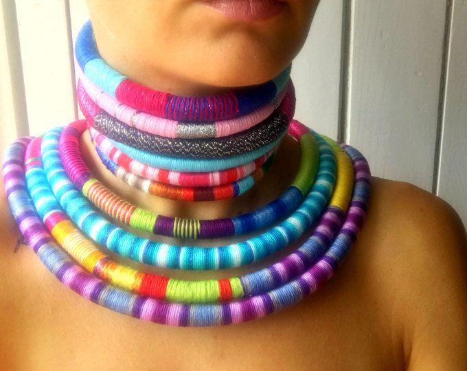 Collar Tribal de estado 2 en 1, declaración tribales collar cuerda gargantilla collar africano Azteca collar collar Tribal joyas africanas