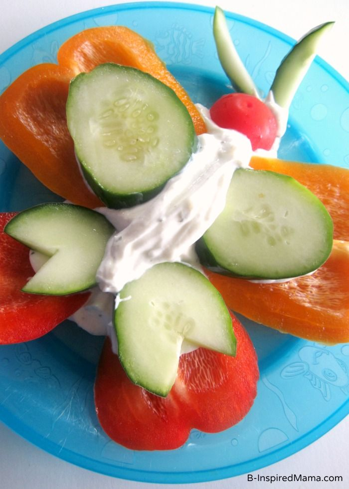 A Fun and Healthy Vegetable Butterfly Snack for the Kids at B-InspiredMama.com #sponsored #kids #snack #healthykids
