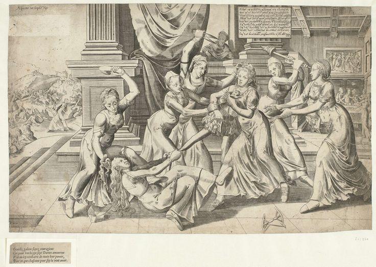 Frans Hogenberg | Strijd om de broek, Frans Hogenberg, 1540 - 1590 | Zeven vrouwen vechten om een mannenbroek. Zij trekken elkaar aan de haren en slaan elkaar met een muil, schaar of spinrokken. Achter een zuil kijkt een man toe. Rechts achter een gezelschap van één man en enkele vrouwen aan een gedekte tafel. De man wordt geliefkoosd. Links op de achtergrond een gevecht tussen soldaten en vrouwen. De tekst rechtsboven verklaart dat de afbeelding de rivaliteit tussen vrouwen om de liefde van…