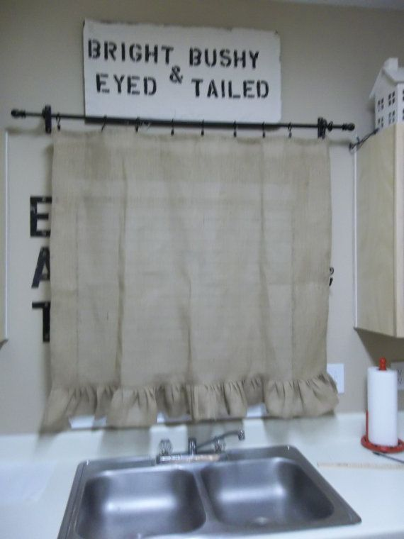 Ruffled Burlap Curtain Farmhouse Kitchen Window by misshettie, $38.00