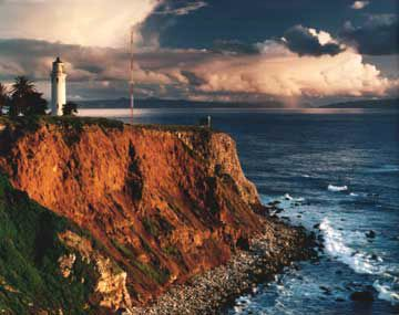 Point Vicente Lighthouse, Palos Verdes, California....One Pinner Writes..... When I was young there used to be the rusty remains of a shipwreck right there.
