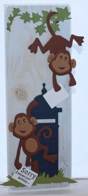 Gemaakt door Joke # kinderkaart met aapjes, Sorry I missed your birthday - voor Johanan