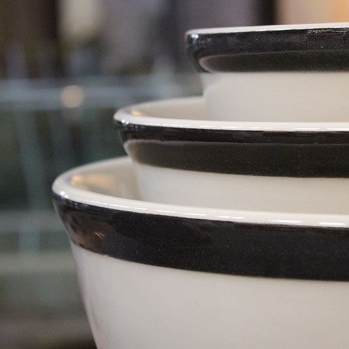 "Medalta Bowls Nested. 8"" Holds approximately 8 cups or 1.85 L. 10"" Holds approximately 17 cups or 4 L. 12"" Holds approximately 17 cups or 4 L."
