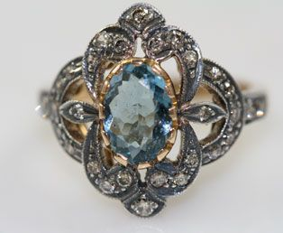 Edwardian Aquamarine Diamond Ring...SO AMAZING!! I <3 this ring
