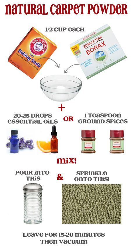 Make your own Natural Carpet Deodorizing Powder. 3 simple ingredients.