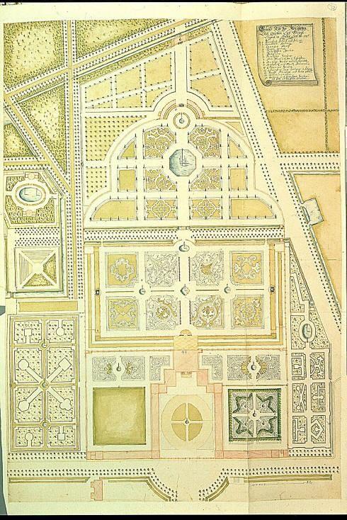 Plattegrond tuinen Paleis het Loo, 1706