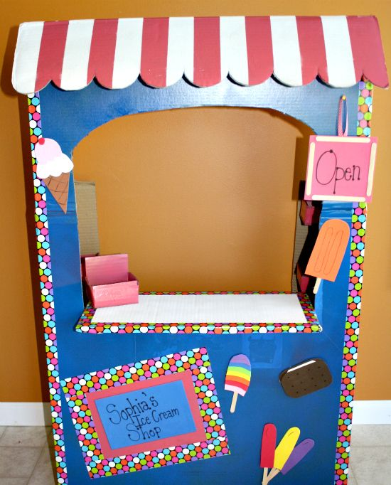 Play Ice Cream Shop - DIY Tutorial from a Large Cardboard Box