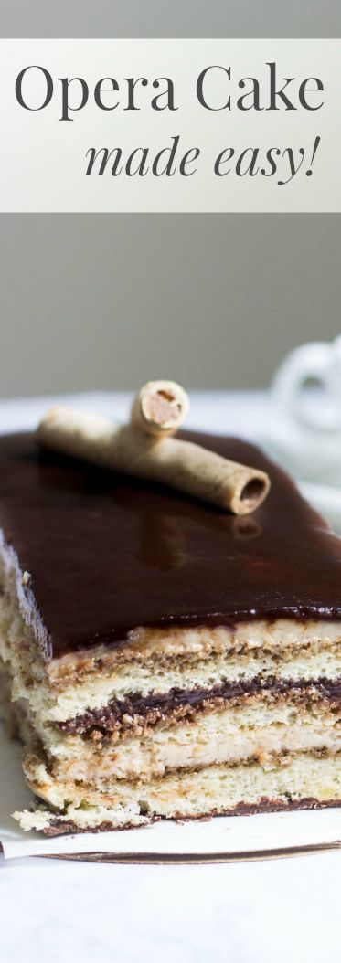 Opera Cake Made Easy! Create this beautiful and delicious coffee-flavored cake via http://MonPetitFour.com