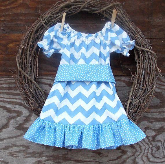 Girls Chevron Dress Light Blue chevron dress by SouthernSister2, $30.00