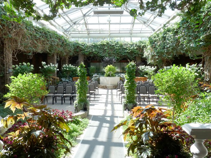 How pretty is Winnipeg's Assiniboine Park Conservatory when it's all set up for a wedding ceremony?