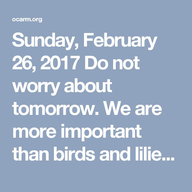 Sunday, February 26, 2017  Do not worry about tomorrow.  We are more important than birds and lilies  Matthew 6.24-34