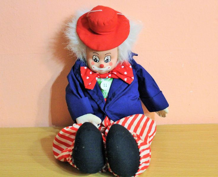 Collectible Ceramic Face Clown Tchibo Germany Clown Doll, Plush Soft Body Vintage by Grandchildattic on Etsy