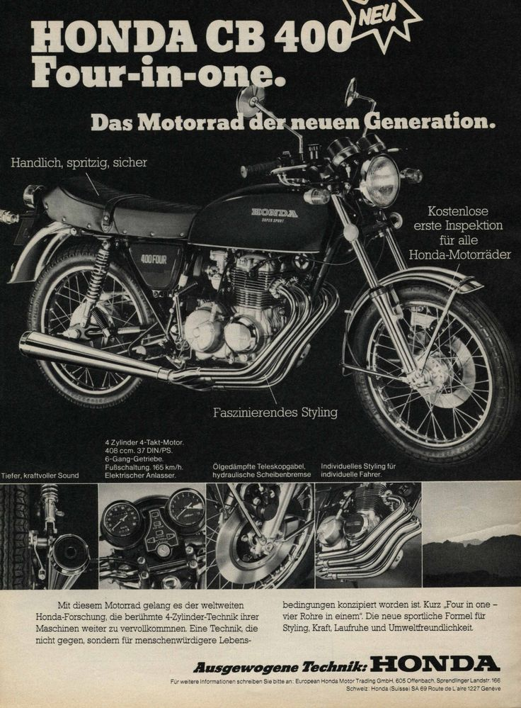 Honda CB400F retro advertisement