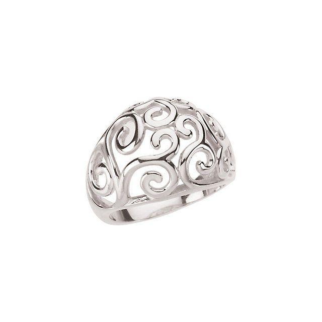 Filigree Scroll Domed Sterling Silver Ring sku #50785 Specify size L@@K #BijouxMoreLLC