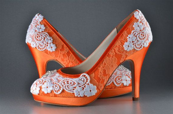 Lace Orange Wedding Shoes 3.75 Custom Colors 250 by Pink2Blue