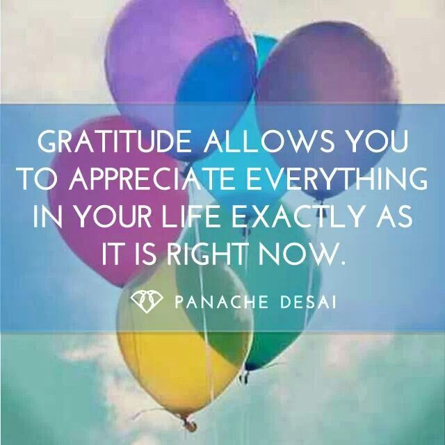 "❥ ""Gratitude allows you to appreciate everything in your life, exactly as it is right now.""  ~~Panache Desai"