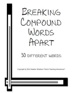 Breaking Compound Words Apart FREEBIE