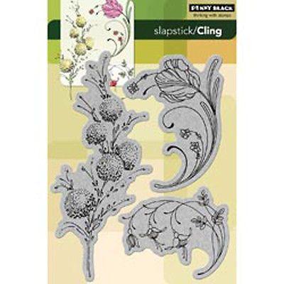 """Нежные цветы-черный пенни цепляются резиновый штамп 5""""X7.5"""" лист"""