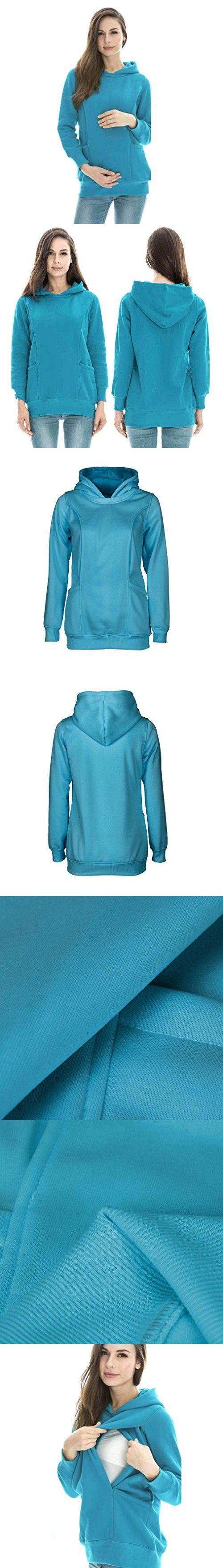 Women's Sweater,Neartime Maternity Nursing Clothes Baby Breastfeeding Clothing Pregnancy Hoodie (L, Blue)