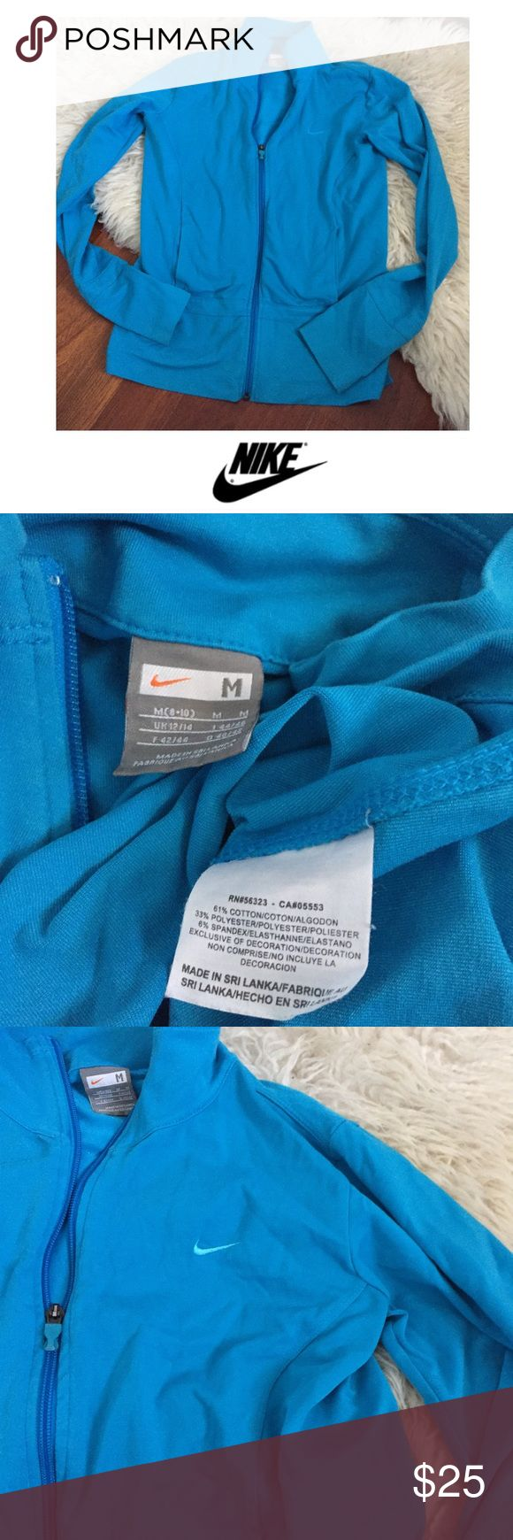 Nike Women's Blue Zip Up Athletic Jacket Nike Women's Blue Zip Up Athletic Jacket. 17 inch bust. 24 inches long. Gently worn. Great condition. Front pockets. Feel free to make an offer or bundle and save. Nike Jackets & Coats