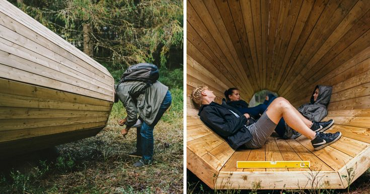 A group of interior architecture students have built king-size wooden megaphones deep in the woods in Estonia. It is a large scale acoustic installation that amplifies the sounds of the forest.  The installation blends contemporary architectural space and wilderness and is accessible for hikers and nature lovers for free.