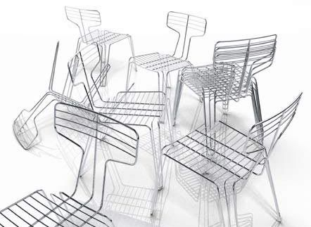 Suitable for outdoor use these Tom Dixon Wire Dining Chairs don't look comfortable and inviting however the structure of them gives an unusual appeal in aesthetics.