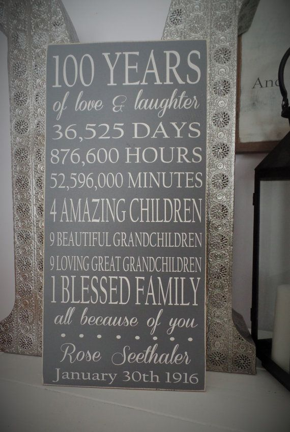Birthday Gift Wood SIgn 100 Year Wooden Sign by leapoffaithsigns