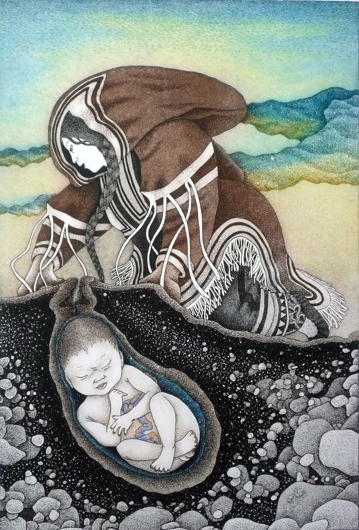 "Item # P12GA01   Price: C$1,200    Title: Mother Earth 	  Dated: 2007 - Signed    Artist: Arnaktauyok, Germaine    	Edition: 	50     Community: Igloolik  Size: inches/cm 30.5"" x 23.75""  77.5 cm x 60.3 cm 	  Style: Etching / Aquatint"