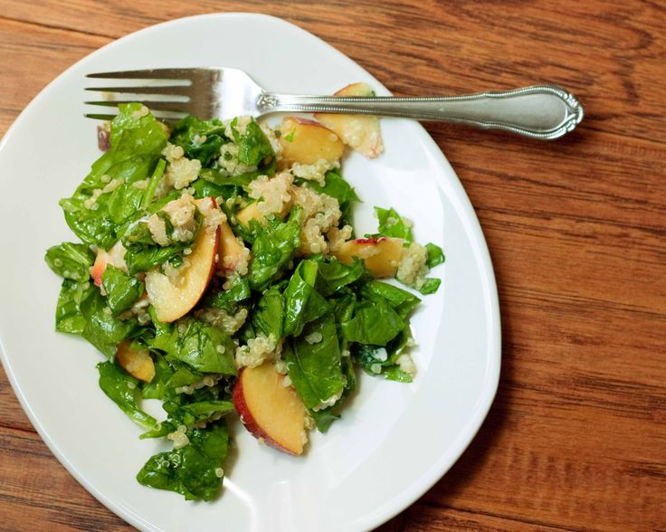 Spinach-Quinoa-Peach Salad with Honey-Sage Vinaigrette, My Type of Salad